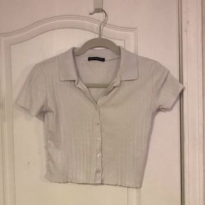 Cropped button up from brandy